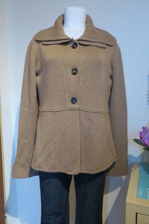 René Lezard Veste tricotée en grosses mailles marron clair