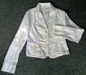 René Lezard Denim Blazer white-natural white cotton
