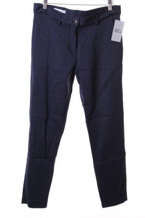 René Lezard Bundfaltenhose dunkelblau-blau Streifenmuster Business-Look