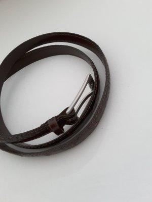 Rene Lezard dünner Ledergürtel, geprägt, dunkelbraun