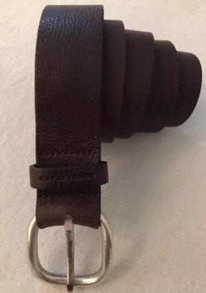 René Lezard Leather Belt dark brown-silver-colored