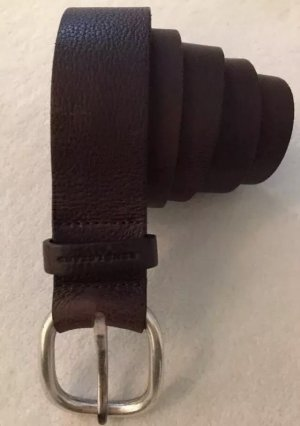 René Lezard Leather Belt dark brown-silver-colored