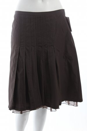 René Lezard Plaid Skirt dark brown-brown polyester