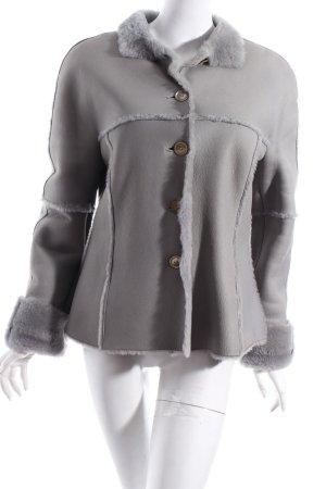 René Lezard Fur Jacket light grey fluffy
