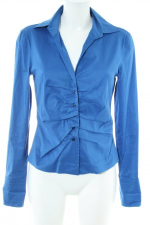 René Lezard Glanzbluse blau Business-Look