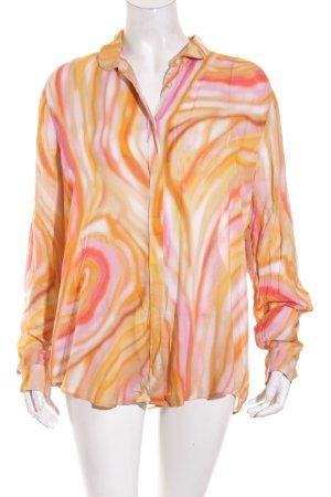 René Lezard Hemd-Bluse abstraktes Muster extravaganter Stil