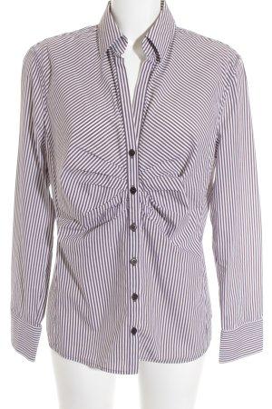René Lezard Hemd-Bluse braun-weiß Streifenmuster Business-Look
