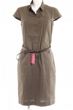 René Lezard Shirtwaist dress khaki-green grey country style