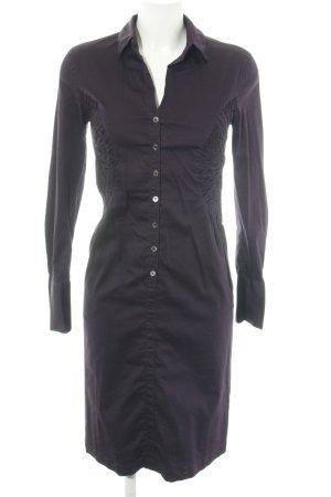 René Lezard Hemdblousejurk zwart-lila zakelijke stijl