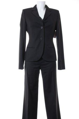 René Lezard Tailleur-pantalon noir-gris foncé rayure fine style d'affaires