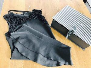 René Lezard Kleid aus Krepp mit Rüschenbesatz