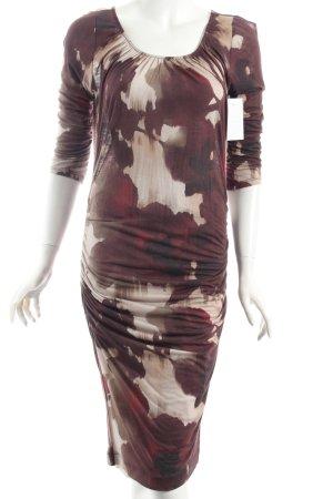René Lezard Kleid creme-violett abstraktes Muster Casual-Look