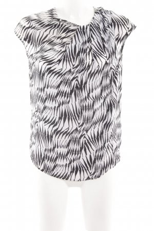 René Lezard Kurzarm-Bluse weiß-schwarz abstraktes Muster Business-Look