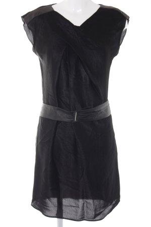 René Lezard Kurzarmkleid schwarz klassischer Stil