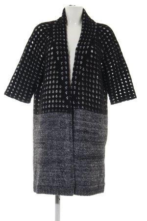 René Lezard Cardigan a maniche corte nero-grigio chiaro puntinato stile casual