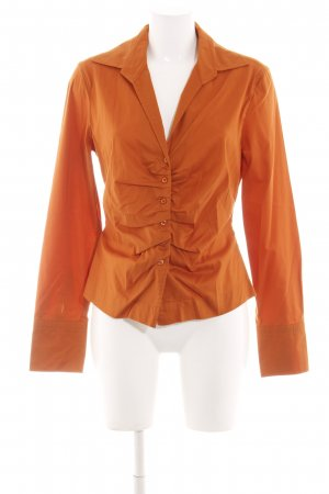 René Lezard Langarm-Bluse hellorange Business-Look