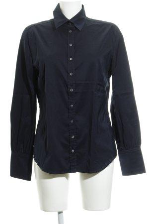 René Lezard Langarm-Bluse dunkelblau Business-Look