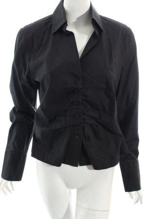 René Lezard Langarm-Bluse schwarz klassischer Stil