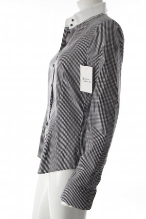 René Lezard Langarm-Bluse schwarz-weiß Karomuster Business-Look