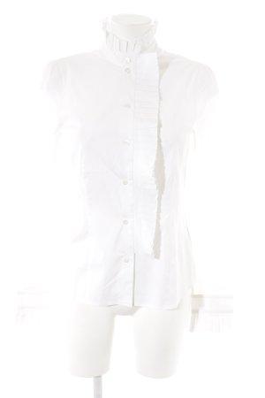 René Lezard Langarm-Bluse weiß Elegant