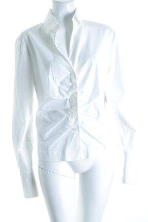 René Lezard Langarm-Bluse weiß