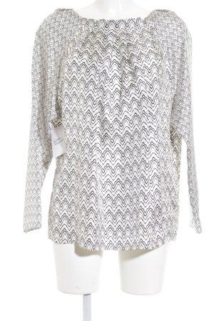 René Lezard Langarm-Bluse weiß-schwarz Zackenmuster extravaganter Stil