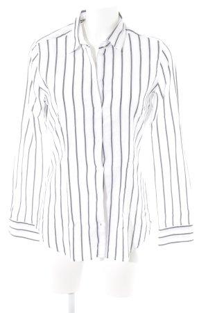 René Lezard Camisa de manga larga blanco-gris antracita estampado a rayas