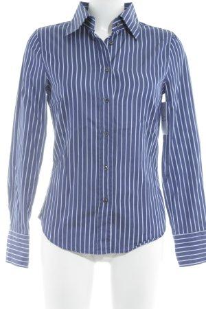 René Lezard Langarmhemd weiß-blau Streifenmuster Business-Look