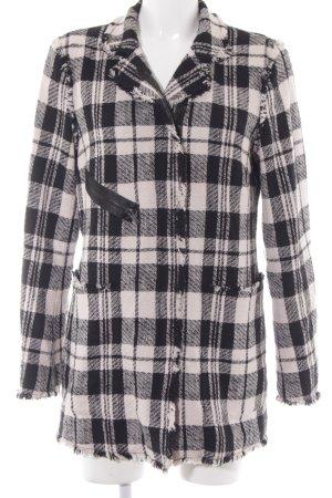 René Lezard Long Jacket black-dusky pink check pattern casual look