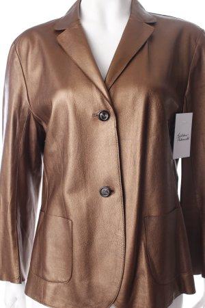 René Lezard Leder-Blazer bronzefarben extravaganter Stil