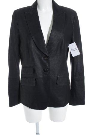 René Lezard Blazer in pelle nero stile casual