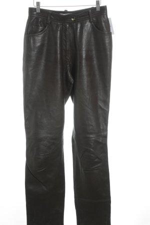 René Lezard Pantalón de cuero marrón oscuro estilo extravagante