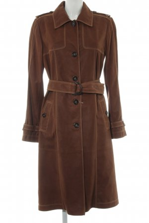 René Lezard Leather Coat light brown simple style