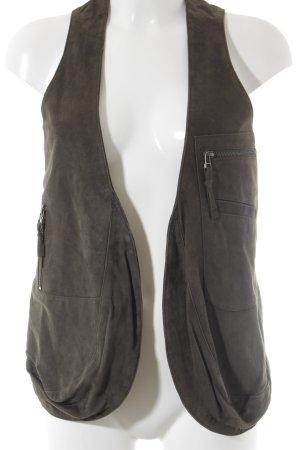 René Lezard Leather Vest olive green casual look
