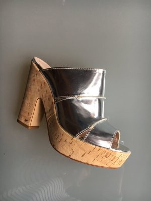 René Lezard Sabots silver-colored-light brown leather