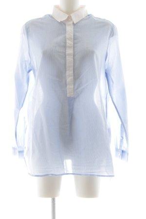 René Lezard Oversized Bluse blau-weiß Business-Look
