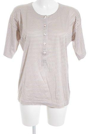 René Lezard T-shirt rayé marron clair-blanc motif rayé style décontracté