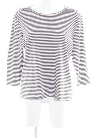 René Lezard Gestreept shirt wolwit-grijs-bruin casual uitstraling