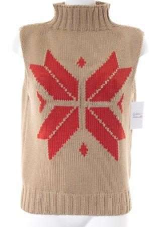 René Lezard Rollkragenpullover beige-rot abstraktes Muster Casual-Look