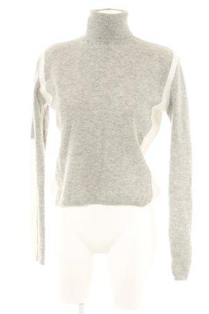 René Lezard Jersey de cuello alto gris claro-blanco puro look Street-Style
