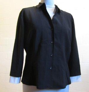 RENE LEZARD: Schwarze Bluse aus 100% Schurwolle, Gr. 42
