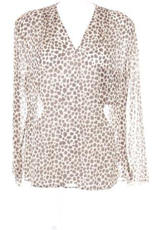 René Lezard Zijden blouse beige-donkerbruin luipaardprint dierenprint