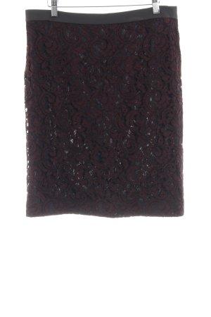 René Lezard Falda de encaje negro-burdeos estampado floral elegante