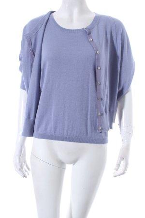 René Lezard Twin set in maglia azzurro-grigio ardesia Motivo a maglia leggera