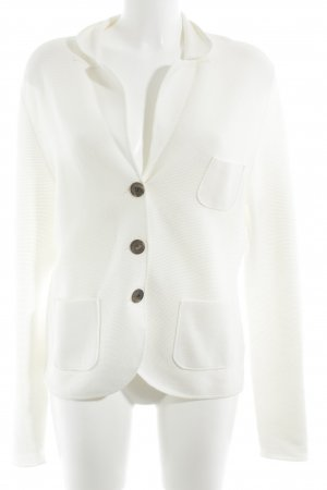 René Lezard Sweat Blazer cream striped pattern Plastic elements