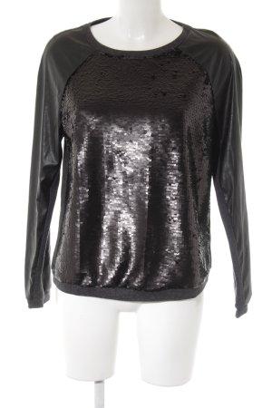 René Lezard Sweatshirt schwarz Paillettenverzierung