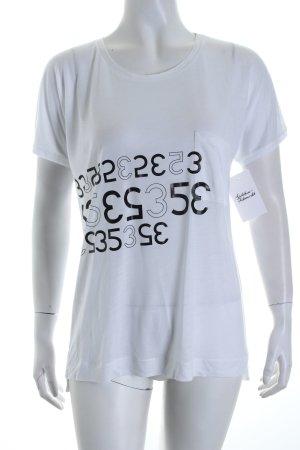 René Lezard T-Shirt weiß-schwarz Schriftzug gedruckt Casual-Look