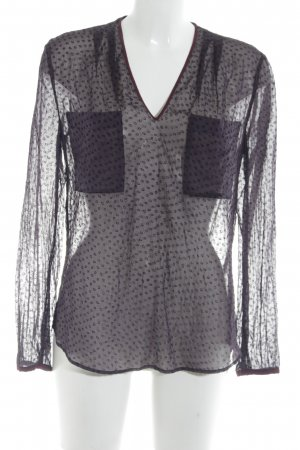 René Lezard Transparenz-Bluse braunviolett-purpur Punktemuster Elegant
