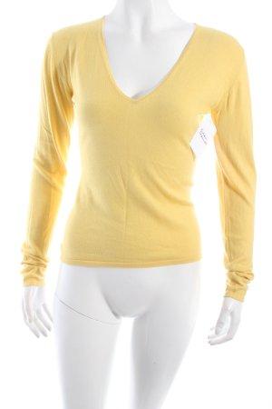René Lezard V-Ausschnitt-Pullover gelb