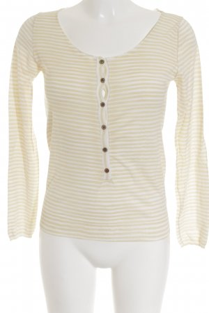René Lezard V-Ausschnitt-Pullover weiß-hellorange Streifenmuster Business-Look